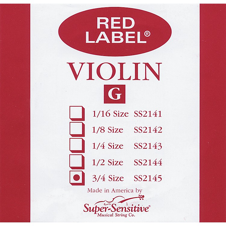 Super Sensitive Red Label Violin G String  3/4
