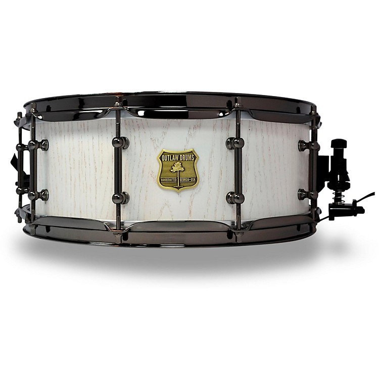 OUTLAW DRUMS Red Oak Stave Snare Drum with Black Chrome Hardware 14 x 5.5 in. White Wash
