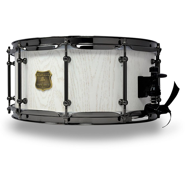 OUTLAW DRUMS Red Oak Stave Snare Drum with Black Chrome Hardware 14 x 6.5 in. White Wash