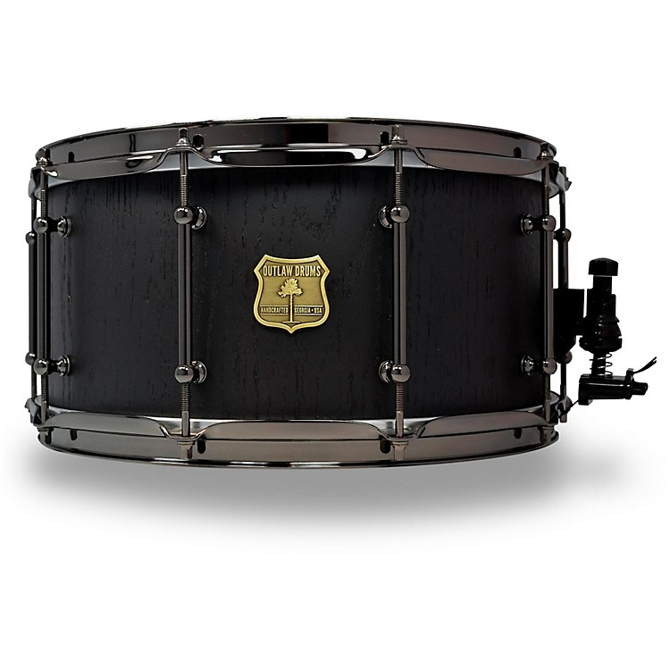 OUTLAW DRUMS Red Oak Stave Snare Drum with Black Chrome Hardware 14 x 7 in. Black Satin