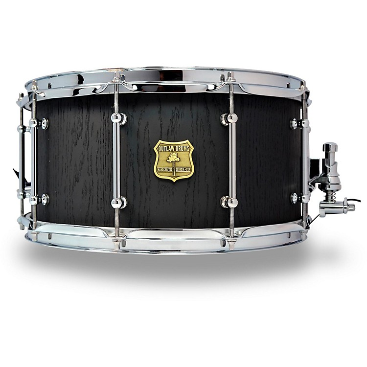 OUTLAW DRUMSRed Oak Stave Snare Drum with Chrome Hardware14 x 7 in.Black Satin