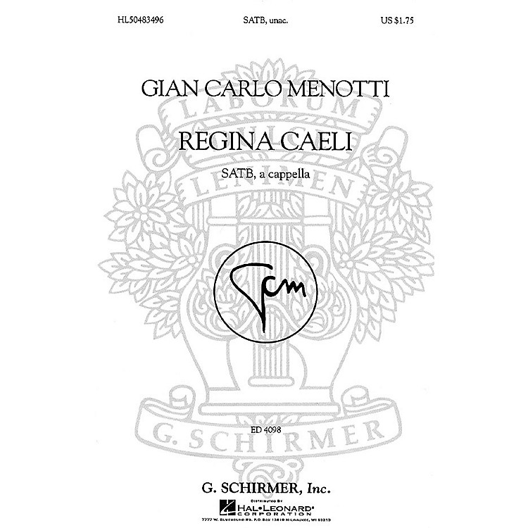 G. SchirmerRegina Caeli (SSAATTBB a cappella) SSAATTBB A Cappella composed by Gian-Carlo Menotti