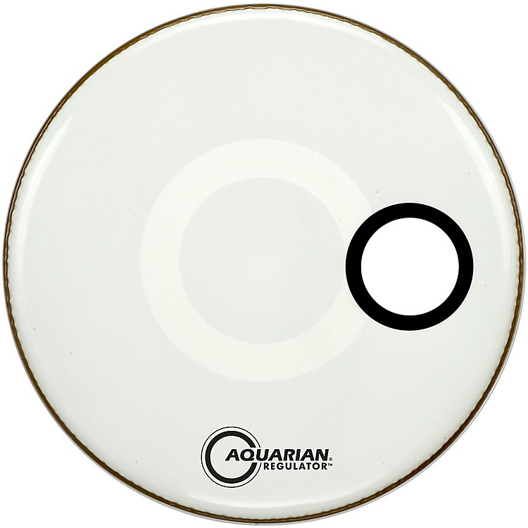 AquarianRegulator Off-Set Hole Gloss White Bass Drum Head28 in.
