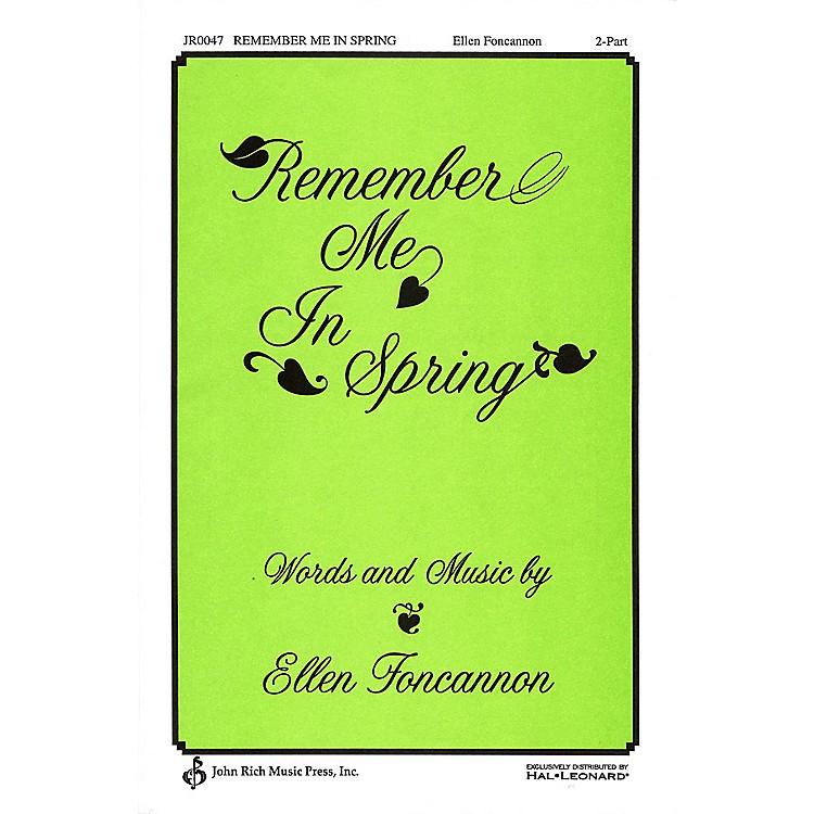 PavaneRemember Me in Spring 2-Part composed by Ellen Foncannon