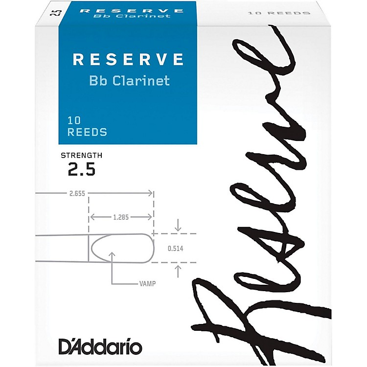D'Addario Woodwinds Reserve Bb Clarinet Reeds 10-Pack Strength 2.5