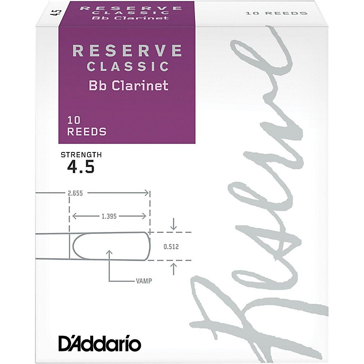 D'Addario Woodwinds Reserve Classic Bb Clarinet Reeds 10-Pack Strength 4.5