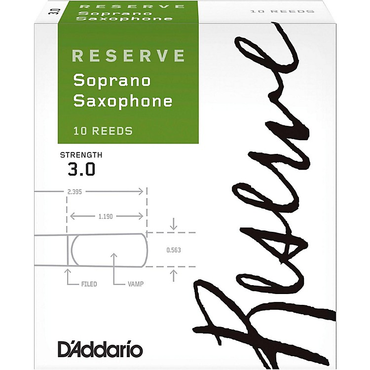 D'Addario Woodwinds Reserve Soprano Saxophone Reeds 10-Pack Strength 3
