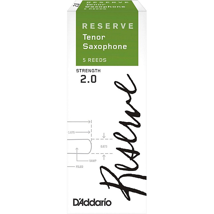 D'Addario Woodwinds Reserve Tenor Saxophone Reeds 5-Pack Strength 2