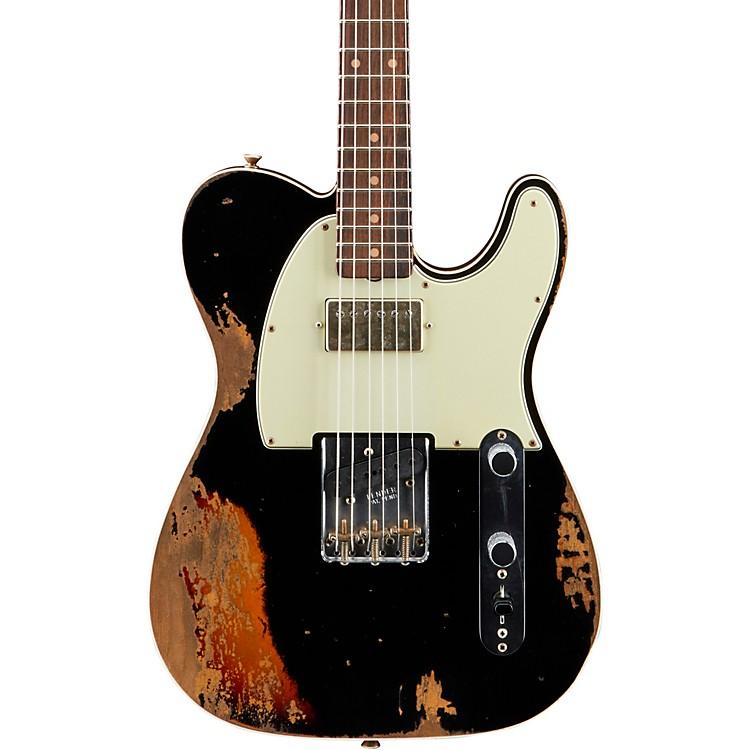 Fender Custom ShopReverse Custom HS Telecaster Heavy Relic Electric GuitarAged Black over 3-Color Sunburst
