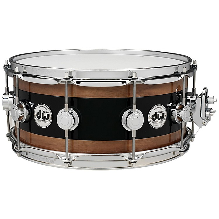 DW Reverse Edge Snare, Black Core with Walnut Rings 14 x 6 in.