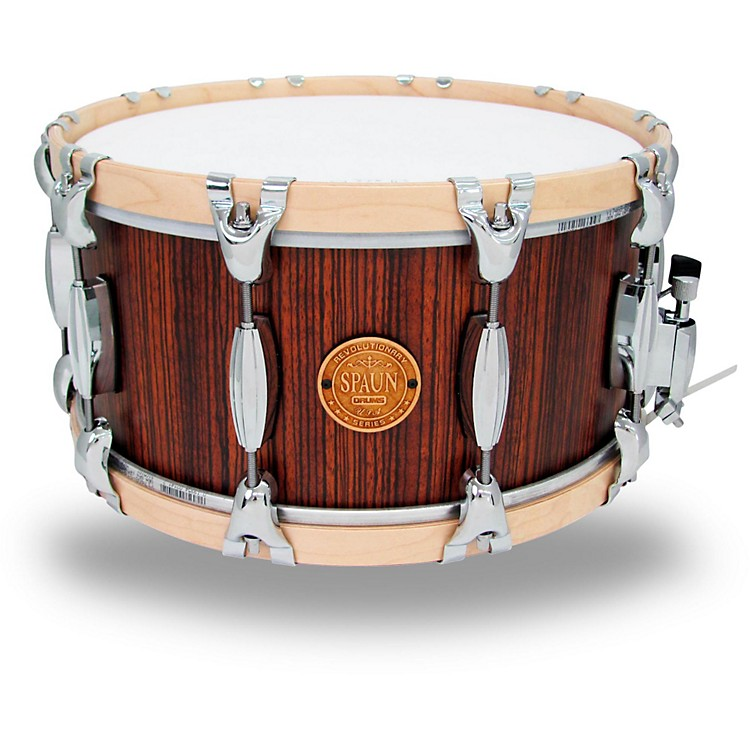 Spaun Revolutionary Wood Hoop Snare Drum 14 x 7 in. Caramel/Zebrawood