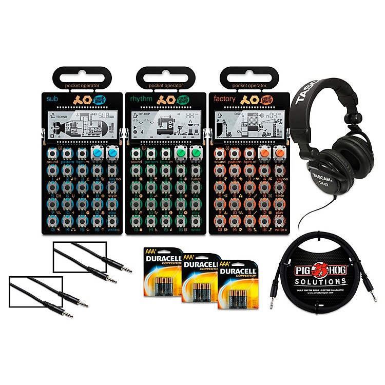 Teenage EngineeringRhythm, Sub, and Factory Pocket Operators with Batteries, Headphones, and Cables