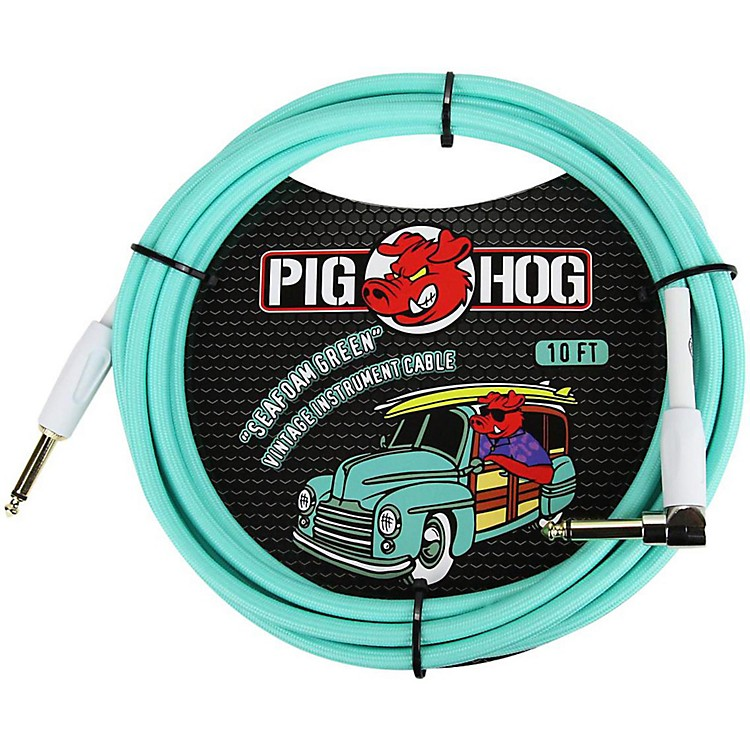 Pig HogRight Angle Instrument Cable10 ft.Seafoam Green