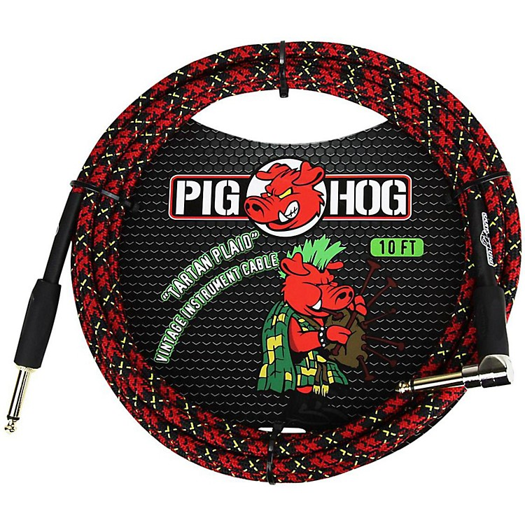 Pig HogRight Angle Instrument Cable10 ft.Tartan Plaid