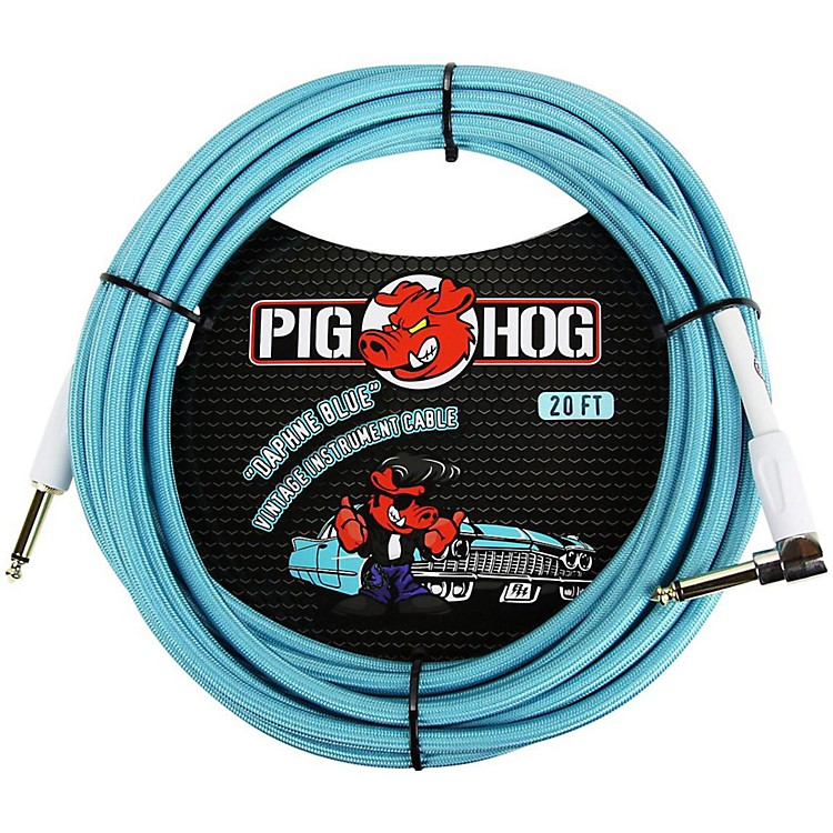 Pig Hog Right Angle Instrument Cable 20 ft. Daphne Blue