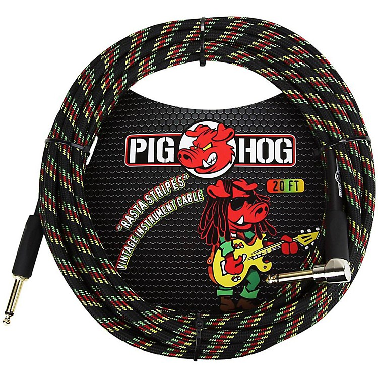 Pig HogRight Angle Instrument Cable20 ft.Rasta Stripes