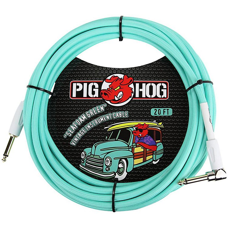 Pig HogRight Angle Instrument Cable20 ft.Seafoam Green
