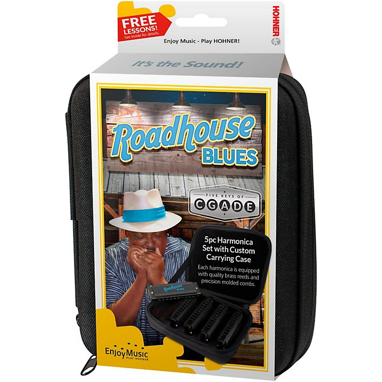 HohnerRoadhouse Blues Harmonicas - 5-Pack (Keys of G, A, C, D, and E)  in Custom Case