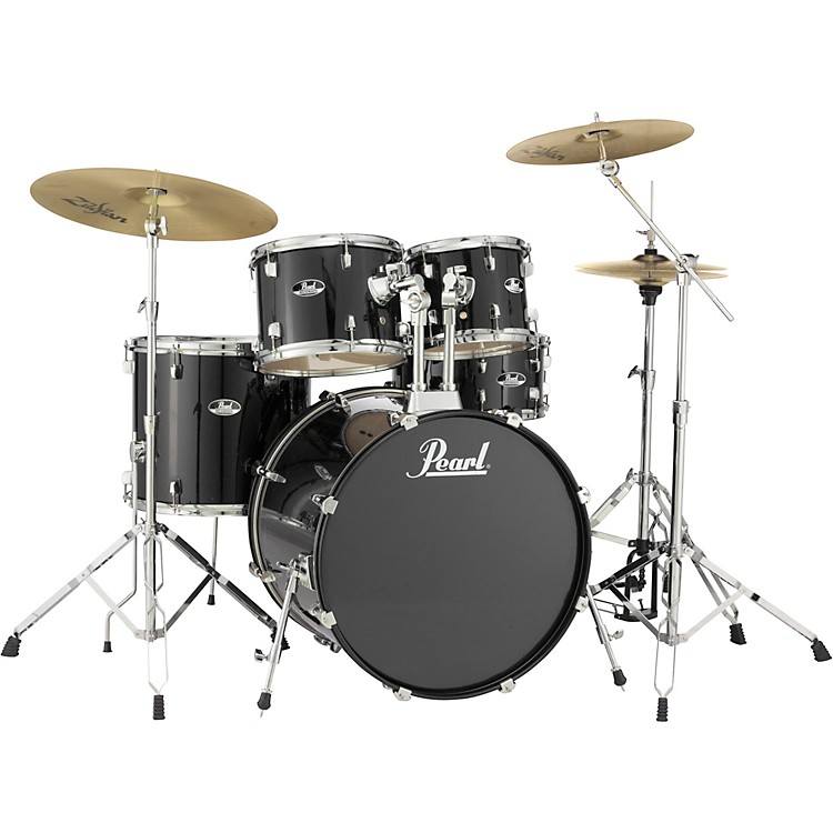 Pearl Roadshow Complete 5-Piece Drum Set with Hardware and Zildjian Planet Z Cymbals Jet Black