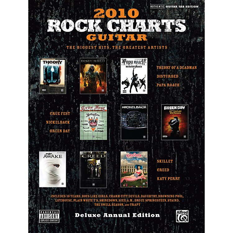 Alfred Rock Charts Guitar 2010 Deluxe Annual Edition Guitar Tab Book