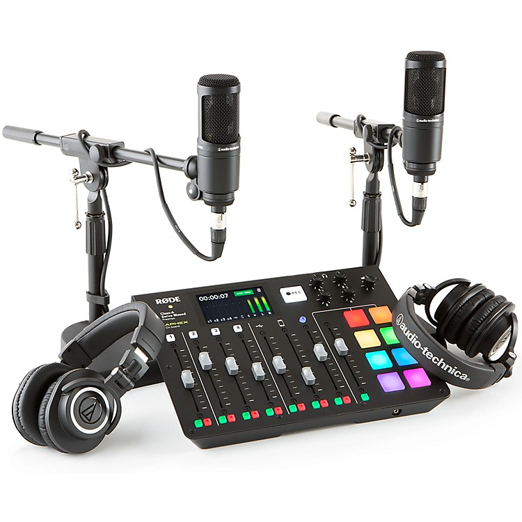 RodeRodecaster Pro 2 Person Podcasting Bundle With AT2020 & ATHM50X