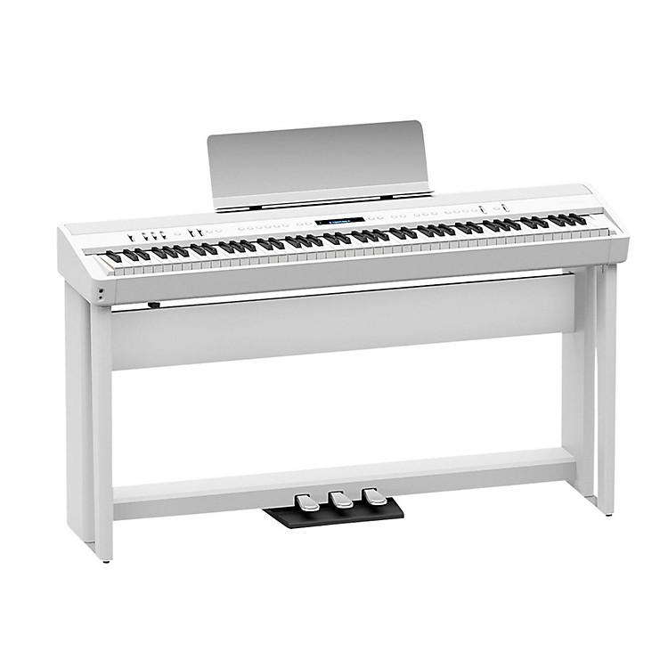 RolandRoland FP-90 Digital Piano Black with Stand and Pedal Board White