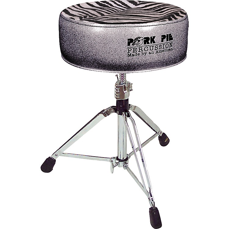 Pork Pie Round Drum Throne Charcoal Glitter with Zebra Top