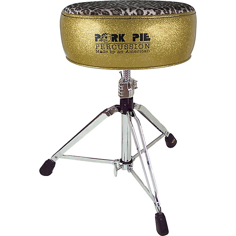 Pork PieRound Drum ThroneGold with Leopard Top