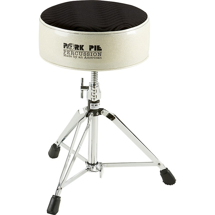 Pork Pie Round Drum Throne Silver Sparkle with Black Swirl Top