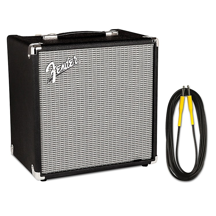 FenderRumble 25W 1x8 Bass Combo Amp and 20 Foot Instrument Cable
