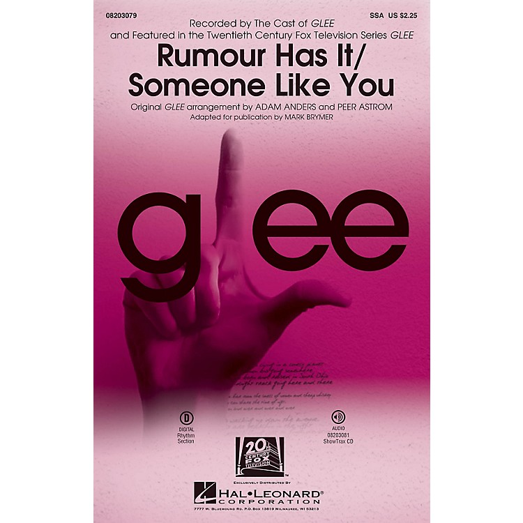 Hal LeonardRumour Has It/Someone Like You (Choral Mash-up from Glee) SSA by Adele arranged by Adam Anders