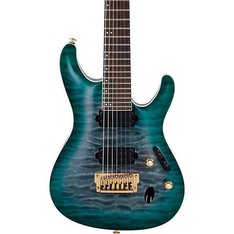 IbanezS Prestige Series S5527QFX 7-String Electric GuitarDark Green Doom