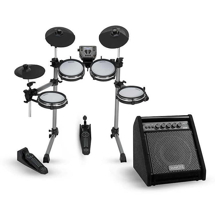 SimmonsSD350 Electronic Drum Kit With Mesh Pads and Simmons DA50B Bluetooth Monitor