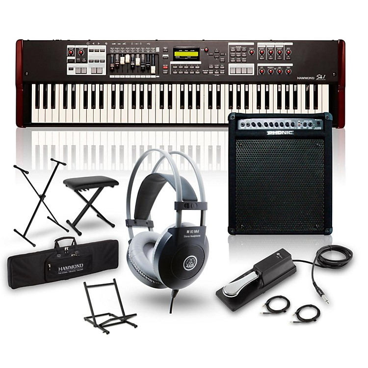HammondSK1-73 73-Key Digital Stage Keyboard and Organ with Keyboard Amp, Stand, Headphones, Bench & Sustain Pedal