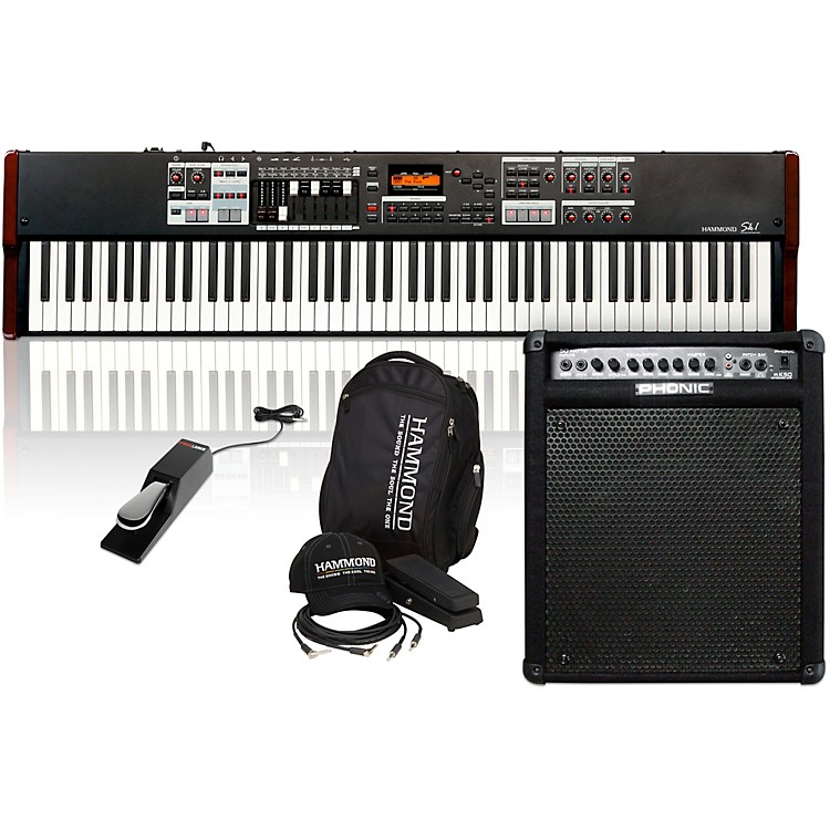 HammondSK1-88 88-Key Digital Stage Keyboard and Organ with Keyboard Accessory Pack, MK50 Keyboard Amplifier, and Sustain Pedal