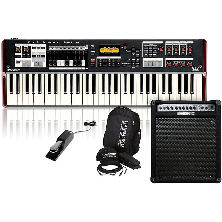 HammondSK1 Stage Keyboard with Accessory Pack, Keyboard Amplifier, and Sustain Pedal