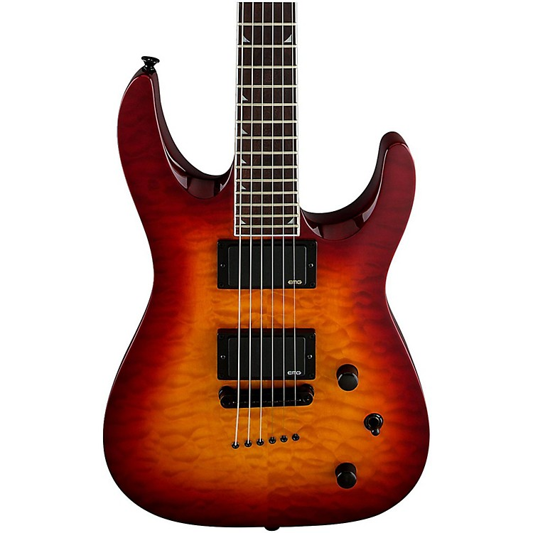 Jackson SLATTXMG 3-6 Quilted Maple Top Electric Guitar Black Cherry Burst
