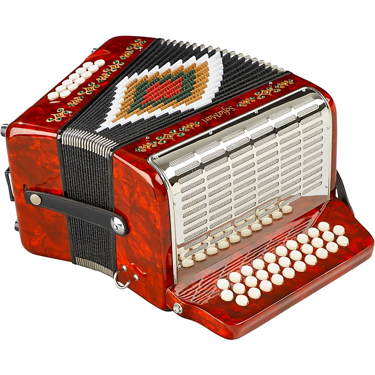 SofiaMari SM-3112 31-Button 12 Bass Accordion GCF Red and Green Pearl
