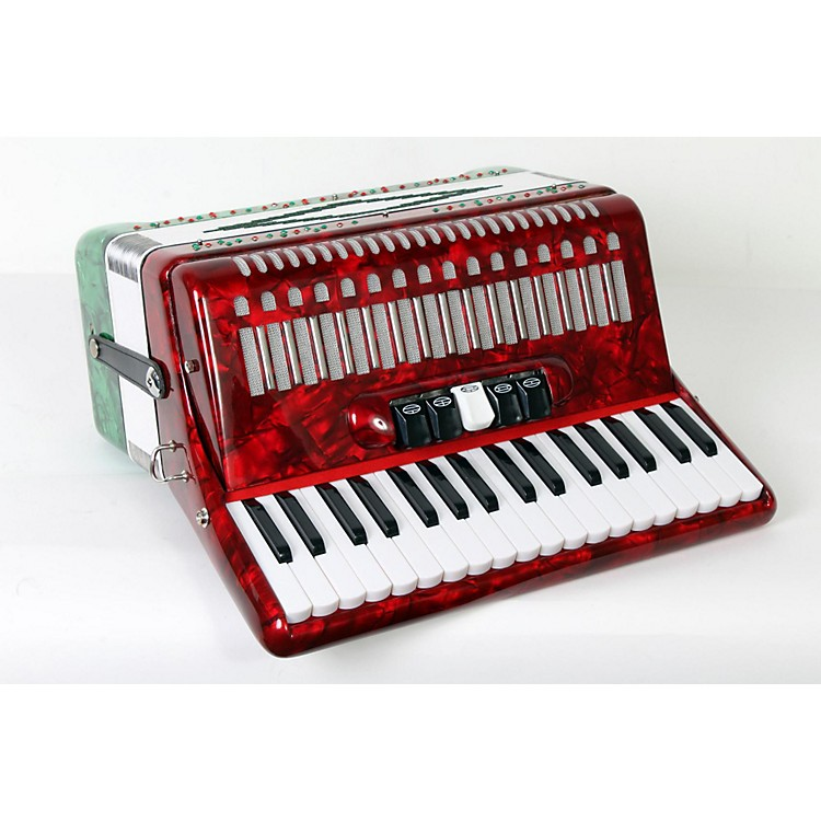 SofiaMari SM-3448 34 Piano 48-Bass Accordion Red and Green Pearl 888365840383