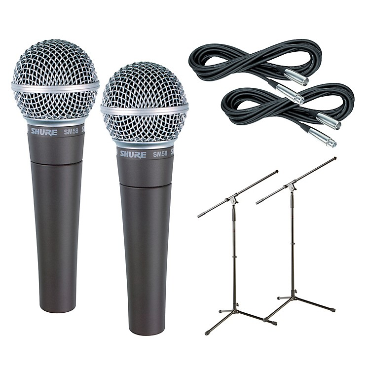 Shure SM58 Mic Two Pack with Cables & Stands