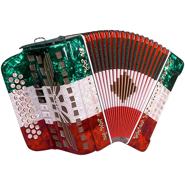 SofiaMari SMTT-3412, Two Tone Accordion Red,White,Green Fa/Mi