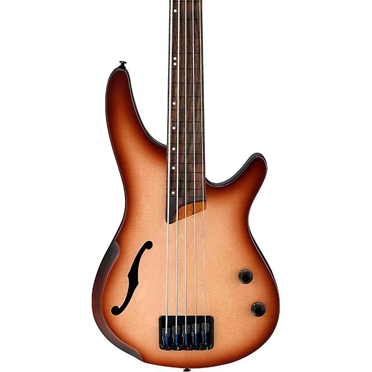 IbanezSRH505F 5-String Fretless Hollowbody Electric Bass GuitarFlat Natural Browned Burst