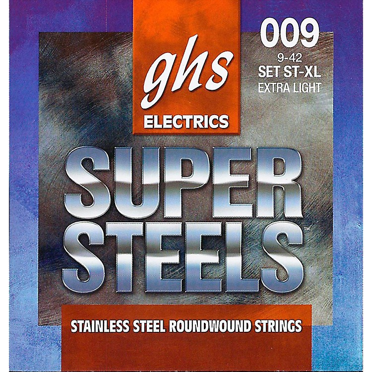 GHS ST-XL Super Steels Roundwound Extra Light Electric Guitar Strings