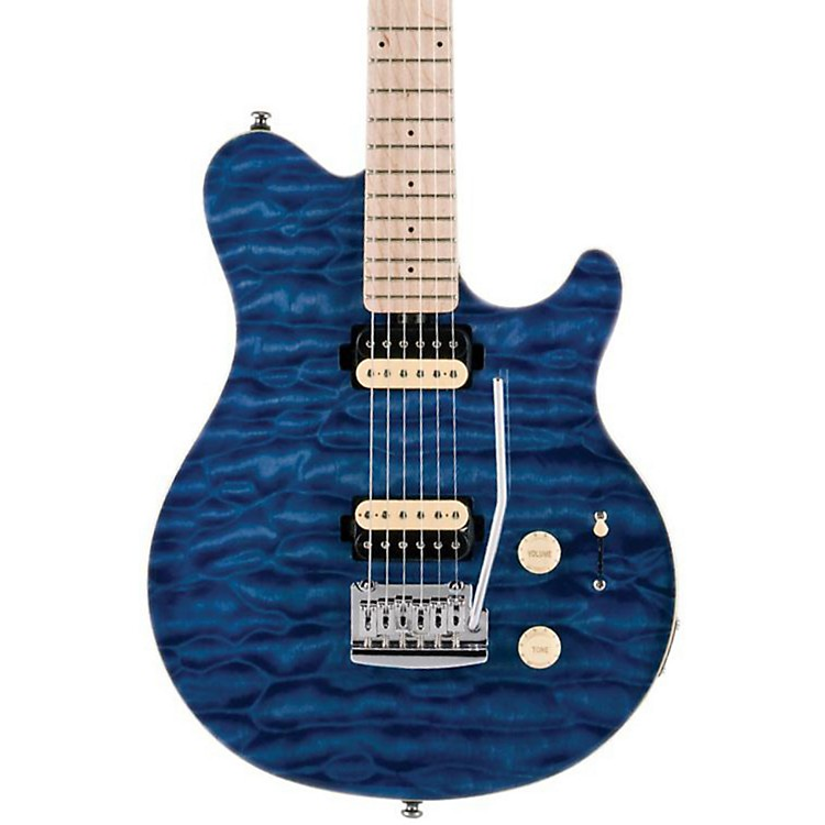 Sterling by Music ManSUB AX3 Axis Electric GuitarTransparent Blue