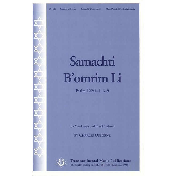 Transcontinental MusicSamachti b'omrim Li SATB composed by Charles Osborne