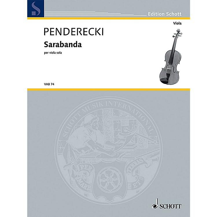 SchottSarabanda (Solo Viola) Schott Series Composed by Krzysztof Penderecki