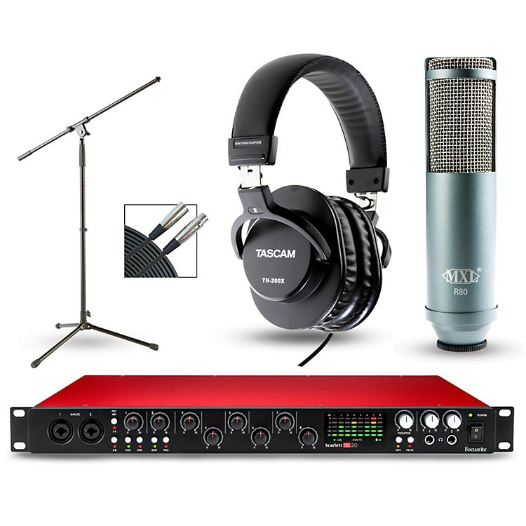 focusrite scarlett 18i20 recording package with r80 ribbon microphone and th 200x headphones. Black Bedroom Furniture Sets. Home Design Ideas
