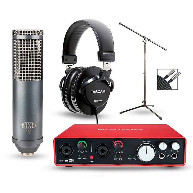 FocusriteScarlett 6i6 Recording Package with R80 Ribbon Microphone and TH-200X Headphones