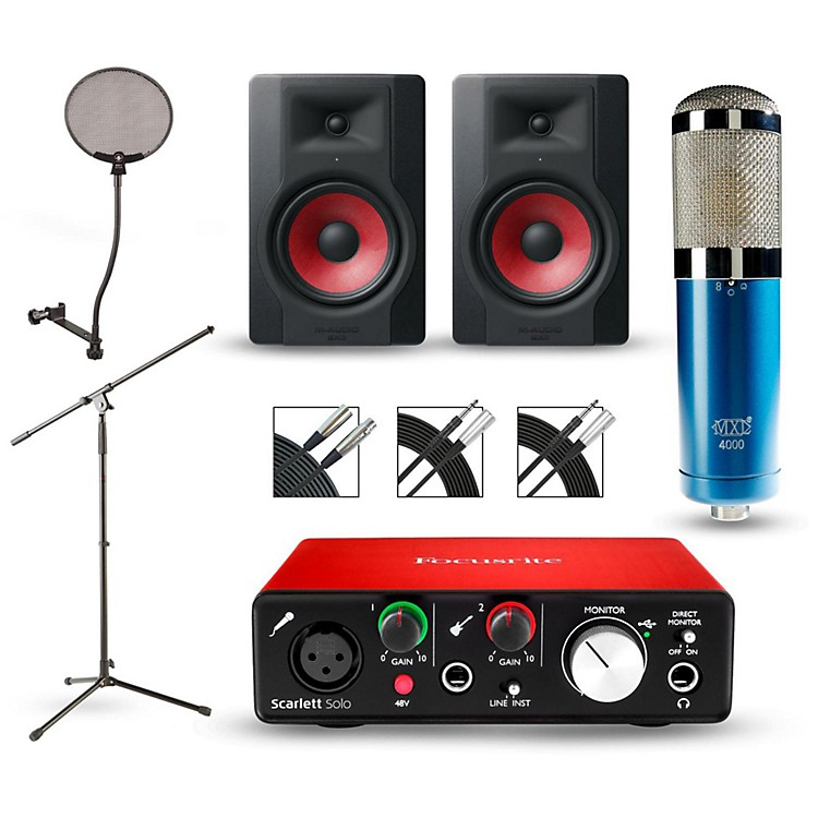 focusrite scarlett solo recording package with mxl 4000 and m audio limited edition bx5 pair. Black Bedroom Furniture Sets. Home Design Ideas