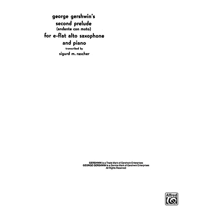 AlfredSecond Prelude for Alto Sax By George Gershwin / arr. Sigurd Rascher Book